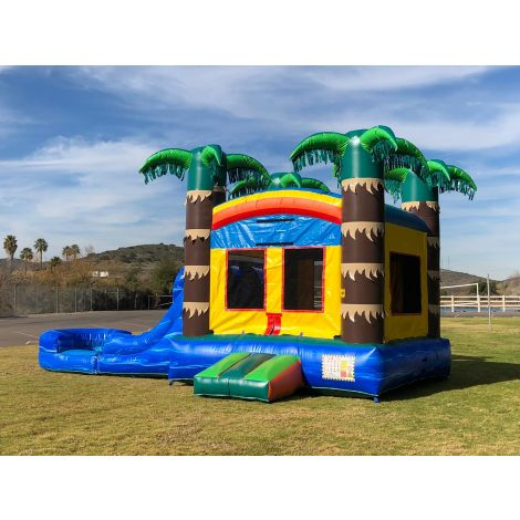 Dual Lane Tropical Fun Water Slide Combo Jumper in San Diego